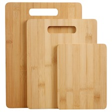 3 Piece Gourmet Kitchen Natural Bamboo Cutting Board Set