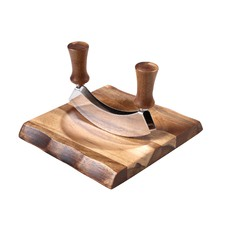 Acacia Cutting Board & Herb Chopper