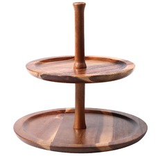 2 Tier Acacia Wood Serving Tray