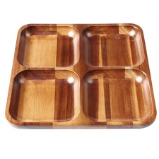 4 Way Acacia Wood Chip & Dip Platter