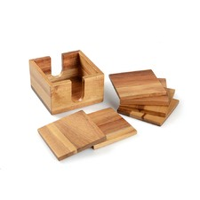 7 Piece Acacia Wood Coaster Set