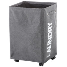 Grey Laundry Bag with 4 Wheels