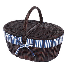 Oval Rattan Basket with Handle
