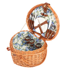 4 Person Heart-Shaped Adelaide Rattan Picnic Basket