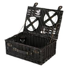Black 4 Person Newbury Rattan Picnic Basket