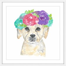 Dog with Flower Crown Wall Art