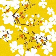 Mandarin Flora Wrapped Canvas Painting Print