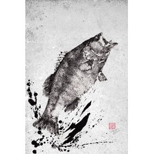 Black Bass Jump Wrapped Canvas Painting Print