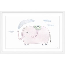 Puffing Elephant Framed Painting Print