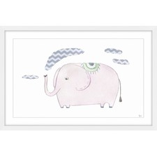 Puffing Elephant II Framed Painting Print