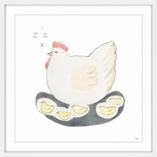 Poule Sereine Framed Painting Print