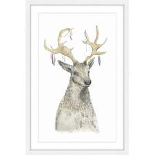 Adorned Reindeer Framed Painting Print