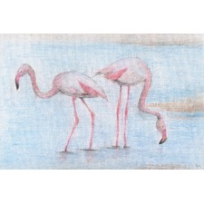 Fishing Flamingos Wrapped Canvas Painting Print