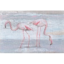 Fishing Flamingos II Wrapped Canvas Painting Print