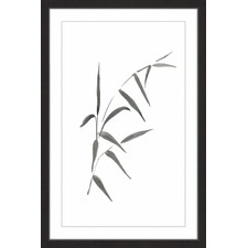 Thin Leaf Branch Framed Painting Print