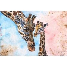 Giraffes Family Canvas Wall Art