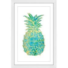 Tropical Gold Pineapple Framed Wall Art