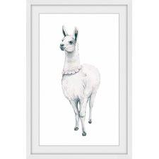 Flower Fringed Llama Framed Print