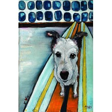 Dog On Surfboard Art Print on Canvas