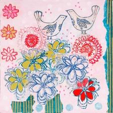Bluebirds Close Art Print on Canvas