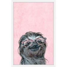 Sloth in Pink Framed Print