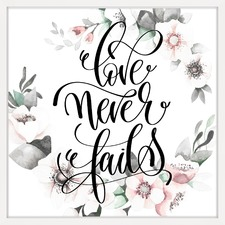 Love Never Fails Floral Framed Print