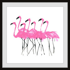 Sexy Flamingos Framed Printed Wall Art