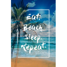 Eat & Beach Stretched Canvas Wall Art