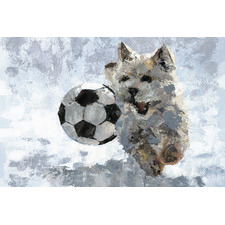 Dog & Soccer Ball Stretched Canvas Wall Art
