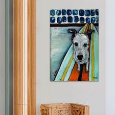 Dog On Surfboard Art Print on Canvas