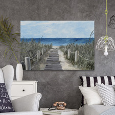Beach Wood Path Stretched Canvas Wall Art