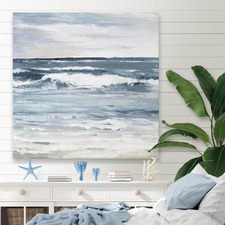 White Waves Splash Stretched Canvas Wall Art