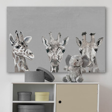 Giraffe Poses III Stretched Canvas Wall Art