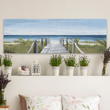 Beach Walkway Stretched Canvas Wall Art