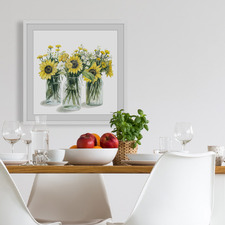 Sunflowers in Glass Jars Framed Printed Wall Art