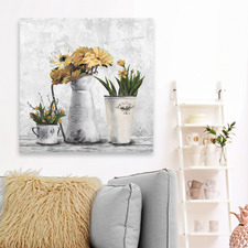 Glowing Yellow Flowers Stretched Canvas Wall Art