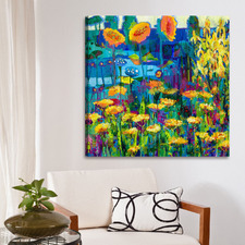 Yellow Garden II Wrapped Canvas Painting Print