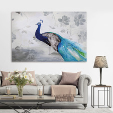 Peacock Fable Cool Canvas Wall Art