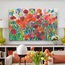 Plentiful Poppies Wrapped Canvas Painting Print