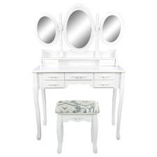 White Lucette Dressing Table & Stool Set