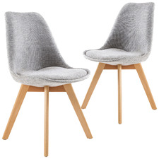 Grey Eames Replica Upholstered Dining Chairs (Set of 2)