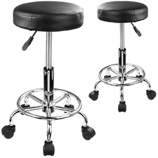 Black Devaughn Faux Leather Adjustable Barstools (Set of 2)