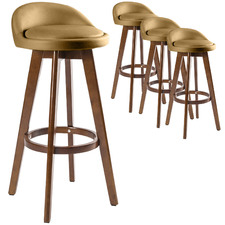 72cm Sunnie Brown Leg Faux Leather Barstools (Set of 4)