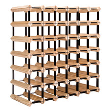 Emperio 42 Bottle Steel & Pine Wood Wine Rack