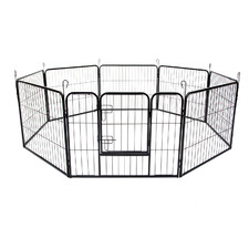 Black Heavy Duty 8 Panel Portable Steel Pet Playpen
