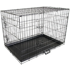 Collapsible 2 Door Metal Dog Cage with Tray