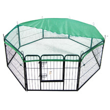 Heavy Duty 8 Panel Portable Steel Pet Playpen with Cover