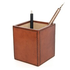 Tan Leather Pen Holder