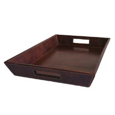 Dark Leather Angled Tray