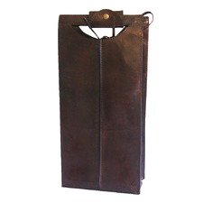 Dark Leather 2 Bottle Wine Holder